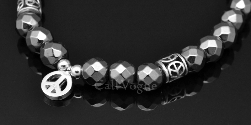 Beaded bracelets Faceted Hematite bracelet Peace 925 sterling silver Bracelets