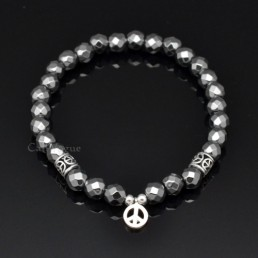 Beaded bracelets Gems-PeaceH Faceted Hematite bracelet Peace 925 sterling silver Bracelets