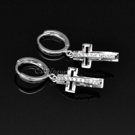 Cross earrings Cubic zirconia Cross hoop earrings for women lever back hook dangle earring