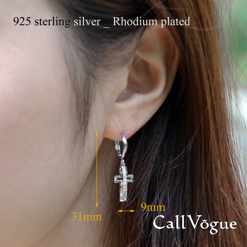 Cross earrings Cubic zirconia Cross hoop earrings for women lever back hook dangle earring de