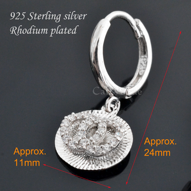 Round multi faceted cutting hoop earrings 925 sterling silver earrings for women