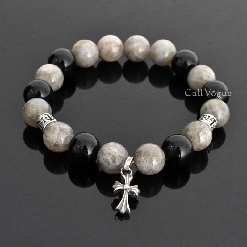 Labradorite Beaded Silver Cross Bracelet Callvogue
