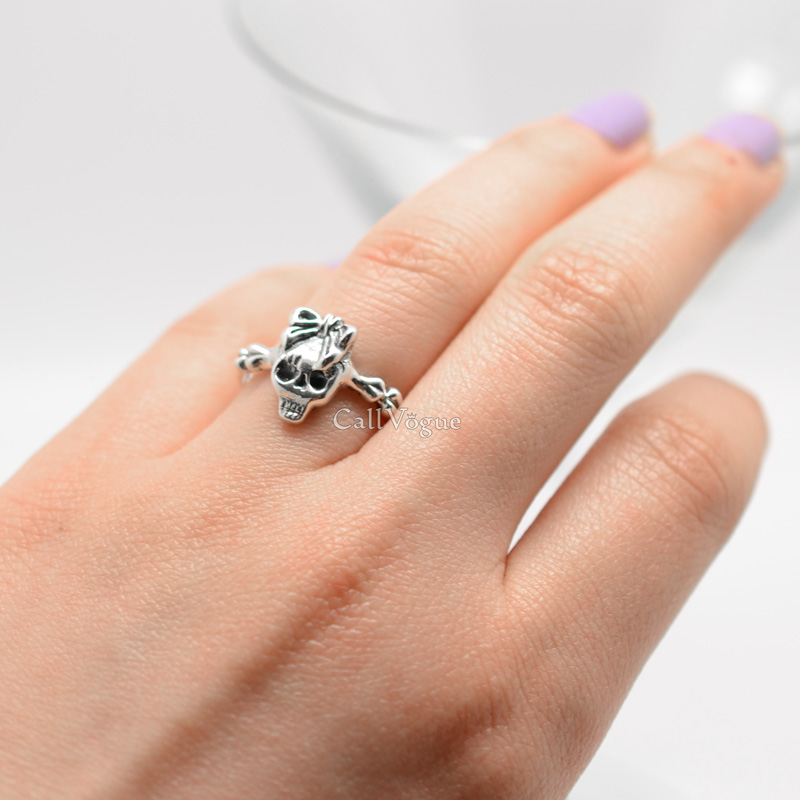 Skull girl rings sterling silver - Callvogue