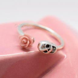 Skull rings ROSE SKULL 925 STERLING SILVER rings