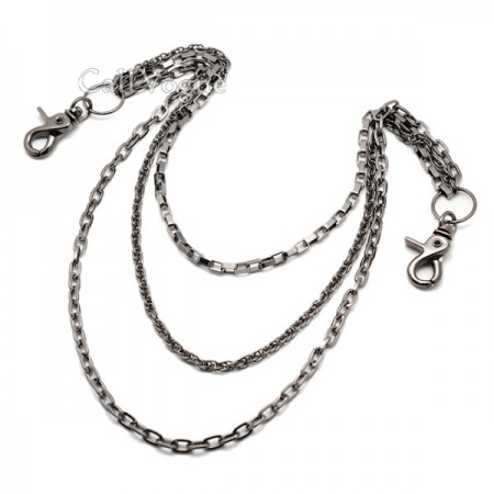 Wallet chains for Men CH304B 3 ROW SQUARE MULTI RING LINKED WALLET CHAIN