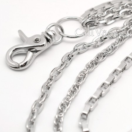 Wallet chains for Men CH304S 3 ROW SQUARE MULTI RING LINKED WALLET CHAIN