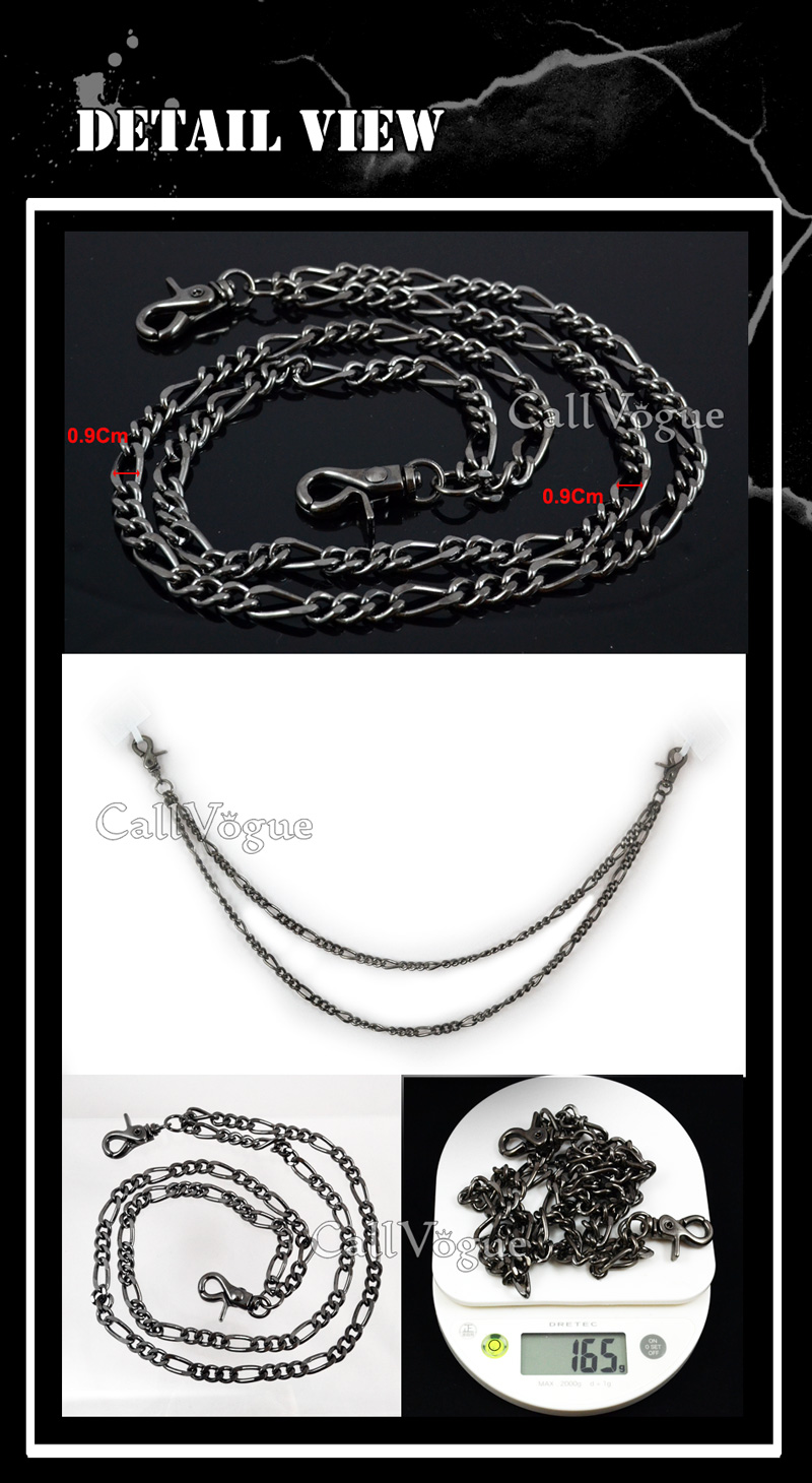 Wallet chains for Men women 2 ROW BLACK metal LEASH unique WALLET CHAIN