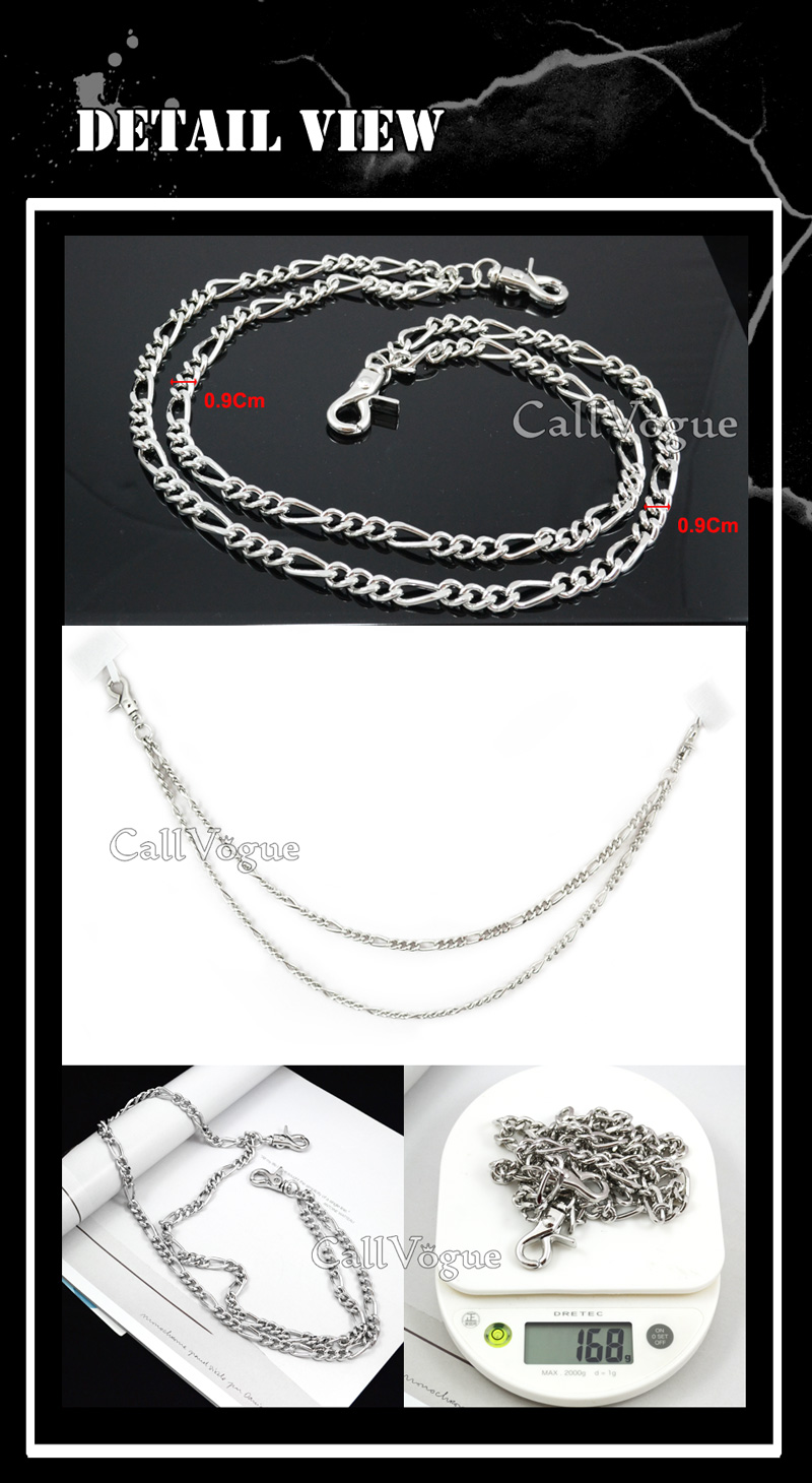 Wallet chains for Men women 2 ROW SILVER LEASH unique WALLET CHAIN