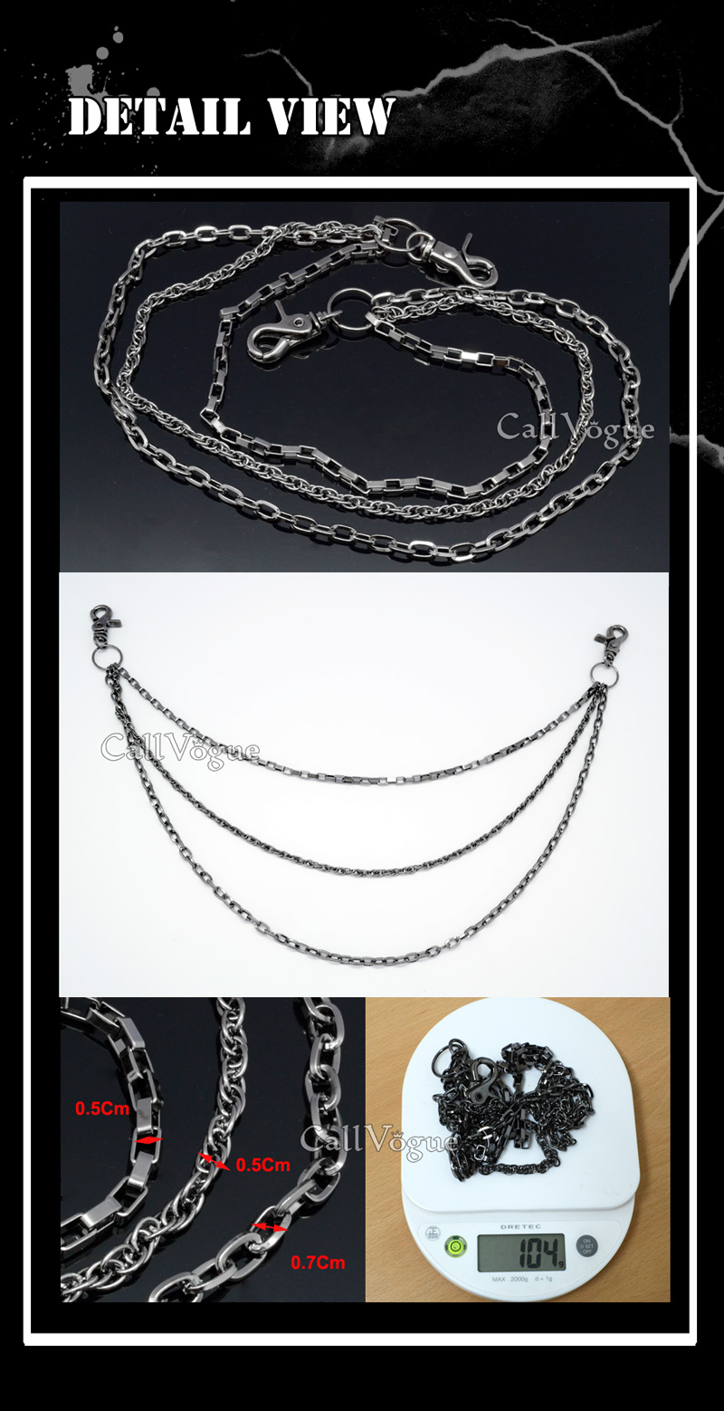 Wallet chains for Men women 3 ROW SQUARE MULTI RING LINKED WALLET CHAIN