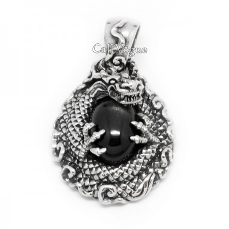 Dragon pendant Starstone CINTAMANI DRAGON 925 STERLING SILVER PENDANT mens necklaces