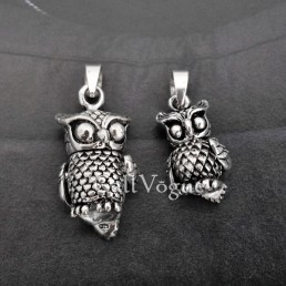OWL pendant 925P_OWL_B Owl 925 silver pendants for necklace