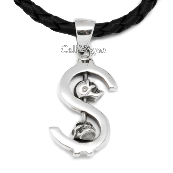 Sterling silver dollar sign skull pendant callvogue skull pendant dollar skull sterling silver pendants for mens necklaces aloadofball Image collections