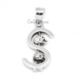 Skull pendant Dollar Skull STERLING SILVER Pendants for mens necklaces