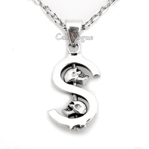 Sterling silver dollar sign skull pendant callvogue sterling silver dollar sign skull pendant mozeypictures Image collections