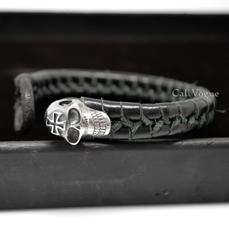 Sterling silver Cross Skull Braided Leather Bracelet - Callvogue