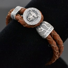 Sterling silver mens bracelets Tiger 925 silver mens leather bracelets Tan Brown