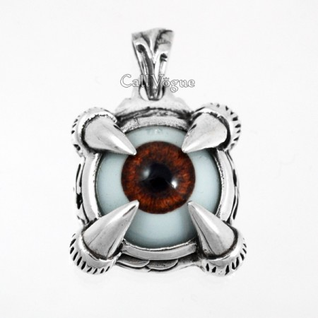 Unique Jewelry BROWN EYE STERLING SILVER PENDANT Mens necklaces