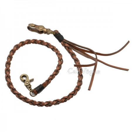 leather wallet chains Genuine CAMEL braided leather wallet chain Biker chain