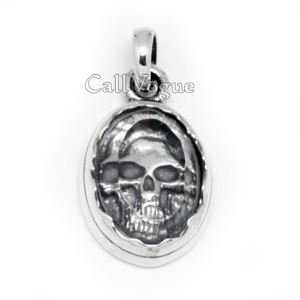 Mens sterling silver skull pendant in crystal callvogue mens sterling silver skull pendant in crystal mozeypictures Images