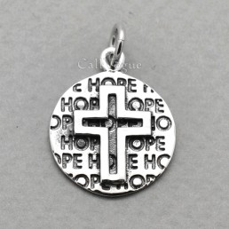 925 Sterling silver pendants Round Cross Hope pendant Cross pendants for women