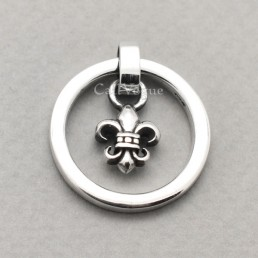 925 Sterling silver pendants Round ring dangling Fleur de lis pendants for mens necklace