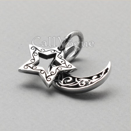 925 Sterling silver pendants Star moon pendant unique jewelry