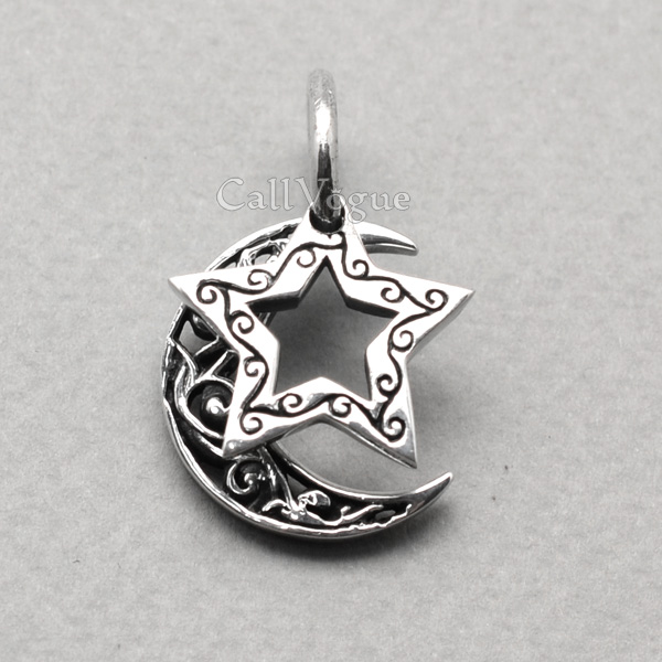 Double sterling silver star moon pendant callvogue double sterling silver star moon pendant mozeypictures Image collections