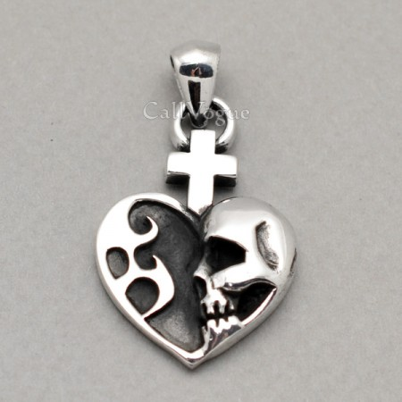 skull jewelry Heart skull pendant 925 sterling silver pendants for mens necklace