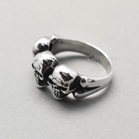 skull jewelry Creepy skull rings 925 sterling silver rings Mens rings