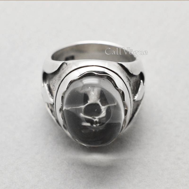 skull jewelry Natural Quartz sterling silver skull ring 925 sterling silver rings for men