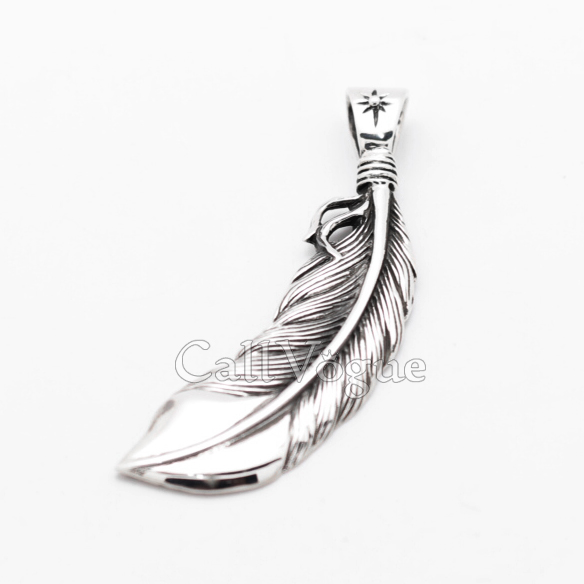 Sterling silver feather pendant medal callvogue sterling silver feather pendant medal aloadofball Images