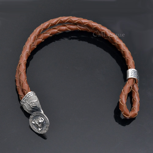 Tiger Sterling Silver Clasp Tan Leather Bracelets